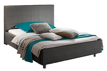 Kunstleder Polsterbett 180x200 cm Bettgestell Ehebett Doppelbett Bett anthrazit