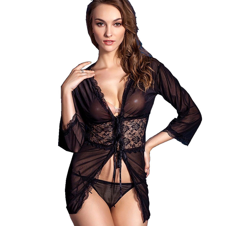 Deercon Frauen-transparente Spitze-W?sche-Kleid-Nachtzeug Babydoll Sleepwear (schwarz) günstig kaufen