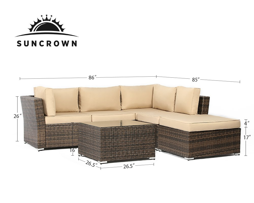 Suncrown Outdoor Furniture Sectional Sofa (4-Piece Set) All-Weather Brown Checkered Wicker with Brown Washable Seat Cushions & Glass Coffee Table   Patio, Backyard, Pool   Waterproof Cover & Clips
