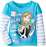 Disney Little Girls Anna and Olaf Long-Sleeve Twofer Shirt