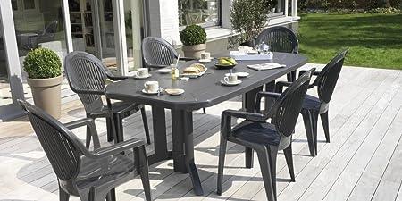 Salon de jardin Vega Anthracite : Table 2m20 + 6 fauteuils