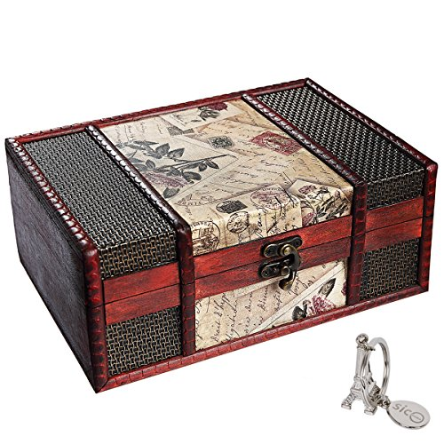 SiCoHome Treasure Box 9.0inch Retro Stamps Small Trunk Box Vintage Jewelry Storage Treasure Cards Collection Wooden Gift Box Decorative Box,for Gifts And House Decoration