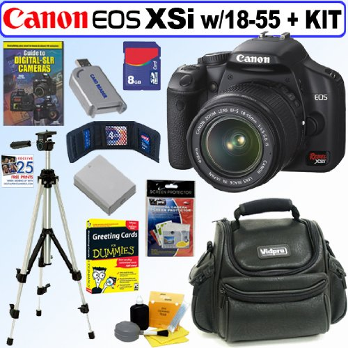 The Electronics World |   Canon Digital Rebel XSi 12MP Digital SLR Camera with EF-S 18-55mm f/3.5-5.6 IS Lens (Black) + 8GB Deluxe Accessory Kit