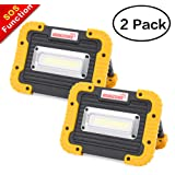 SUNZONE LED Work Light, Rechargeable Portable Waterproof LED Flood Lights for Outdoor Camping Hiking Emergency Car Repairing and Job Site Lighting (Yellow 2 Pack) (Color: Yellow 2 Pack)