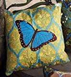 Ornate Butterfly Embroidered Sunbrella Indoor/Outdoor Pillows (Set of two, 20 inch)