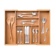 Expandable Bamboo Cutlery Organizer