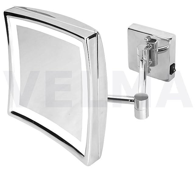 VELMA - SQUARE - LED220NC 5x - Connessione diretta - Esclusivo Specchio cosmetico / Specchio ingranditore / Specchio da trucco / Specchi per radersi illuminato a LED dal design elegante e senza tempo- Ingrandimento x5 - Orientabile - Allineabile alla pare