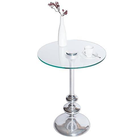 Tavolino in Stile Art Deco - FLUTE - Altura 55 cm. piano in vetro, #37465