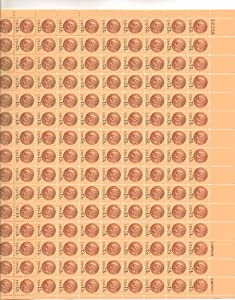 Indian Head Penny Full Sheet of 100 X 13 Cent Us Postage Stamps Scot #1734