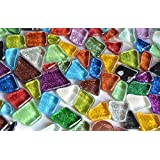 unregelmäßige Mosaiksteine (Soft-Glas) Glitter bunt 100g ca. 60 St.