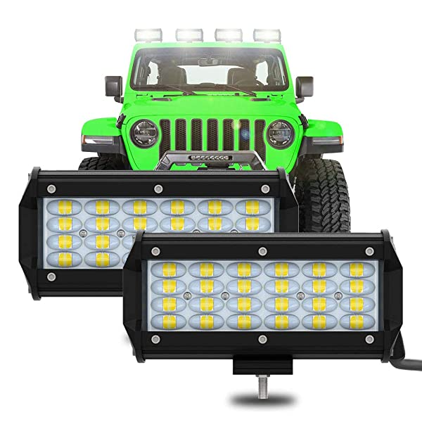 Nicoko 12 72w Spot Lights Off Road LED Light Bar with Chasing ColorMorph RGB Halo Strip with mounting Bracket 10 Solid Colors Over 72 Strobe Flashing Modes for Jeep Lights,1 Year Warranty