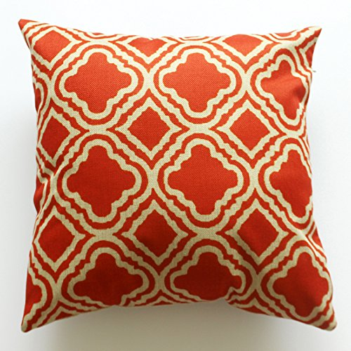 Lydealife (TM)18 X 18 Inch Cotton Linen Decorative Throw Pillow Cover Cushion Case, Argyle Pattern Orange LD077