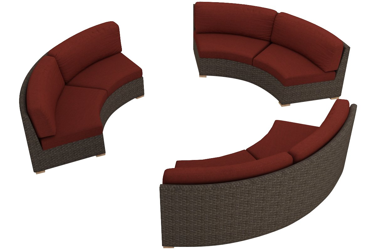 Harmonia Living 3 Piece Arden Curved Sectional Cushion Set - Canvas Henna