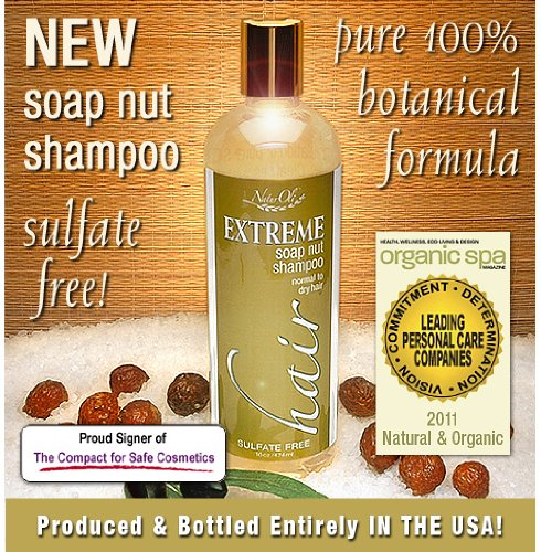 NaturOli Soap Nuts Natural Shampoo - Organic Hair Care - Sulfate Free! - Gluten Free! - Ayurvedic Ingredients - Normal to Dry Hair -