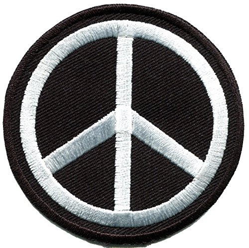 Peace sign white on black hippie retro boho flower power weed love embroidered applique iron-on patch new