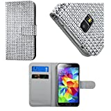 myLife (TM) Shimmering Silver Crystal - Glamorous Design - Koskin Faux Leather (Card, Cash and ID Holder + Magnetic Detachable Closing) Slim Wallet for NEW Galaxy S5 (5G) Smartphone by Samsung (External Rugged Synthetic Leather With Magnetic Clip + Internal Secure Snap In Hard Rubberized Bumper Holder + Sealed Inside myLife Authorized Packaging)