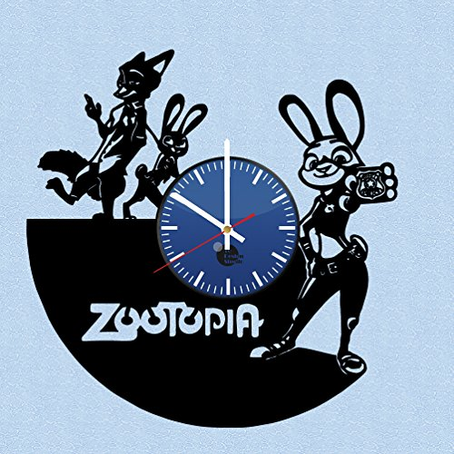 Zootopia-Judy-Hopps-and-Fox-Vinyl-Record-Wall-Clock-Get-unique-kids-room-wall-decor-Gift-ideas-for-boys-girls-and-kids-Unique-Walt-Disney-Art-Leave-us-a-feedback-and-win-your-custom-clock