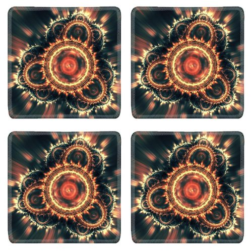 Patterns Range Light Shine Glow Square Coaster (4 Piece) Set Fabric Rubber 5 Inch Size Luxlady Coaster Cup Mug Can Water Bottle Drink Coasters Stain Resistance Collector Kit Kitchen Table Top Desk front-575699