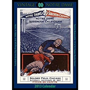 Vintage Notre Dame Fighting Irish Football 2013 Wall Calendar