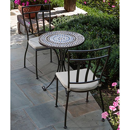 Alfresco Home Tremiti Round Mosaic Bistro Set, 24-Inch picture