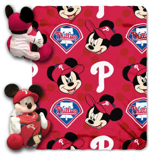 MLB Philadelphia Phillies Mickey Mouse Pillow with Fleece Throw Blanket Set at Amazon.com