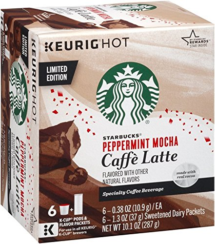 Starbucks Peppermint Mocha Caffe Latte K-Cup Pods (6 Count package, 10.1oz) (Keurig Capsules Starbucks compare prices)