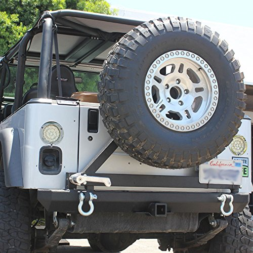 Tuff Stuff Jeep Wrangler Rock Crawler Rear Bumper with Tire Carrier for TJ YJ