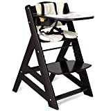 Costzon Wooden Highchair, Baby Dining Chair with Adjustable Height, Removable Tray, 5-Point Safety Harness, Padded Cushion, Perfect Toddlers Feeding Chair (Color: Black, Tamaño: 22'' x 18'' x 33'')
