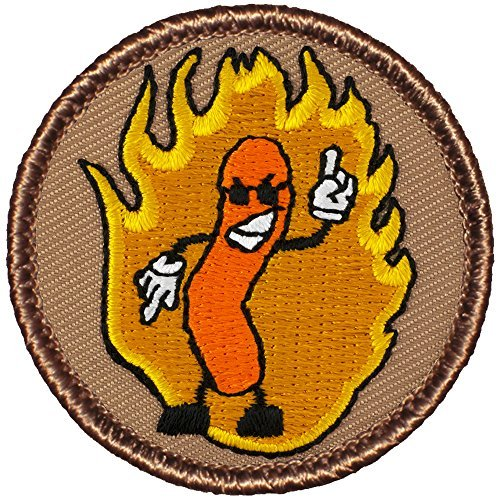 flaming-cheeto-patch-2-diameter-round-embroidered-patch-by-patchtown
