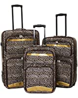 Two Tone Leopard 3 Piece Luggage Set