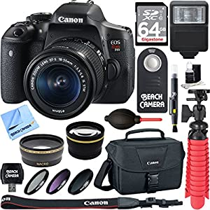 Canon EOS Rebel T6i Digital SLR Camera Wifi + EF-S 18-55mm IS STM Lens Kit + Accessory Bundle 64GB SDXC Memory + DSLR Photo Bag + Wide Angle Lens + 2x Telephoto Lens + Flash + Remote + Tripod & More