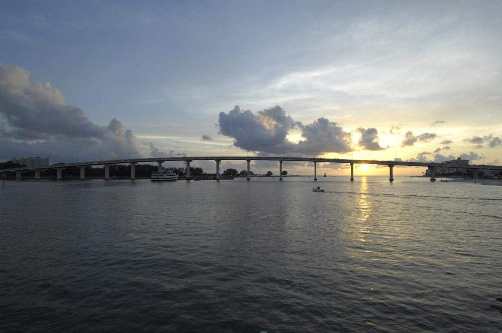 Wall Decals Clearwater Pass Bridge from Sand Key to Clearwater Beach at Sunset