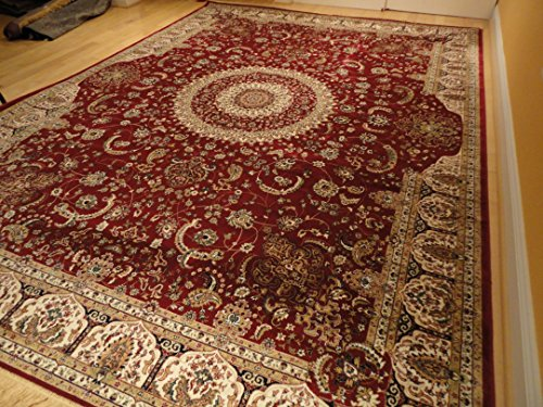 Stunning silk persian area rugs traditional 7x10 red rugs for Living room rugs 6x9