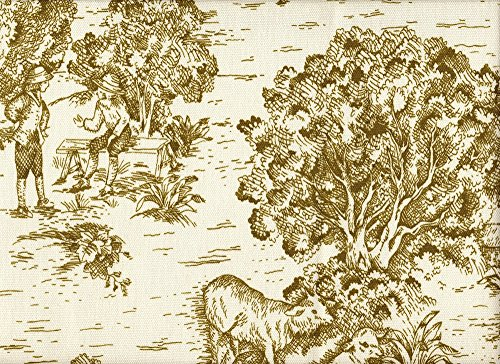 """Gathered 15"""" French Country Toile Chartreuse Green King Bedskirt Cotton front-1049453"""