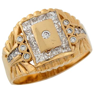 9ct Yellow Gold White CZ Rectangular Men's Bold Cluster Wedding Ring