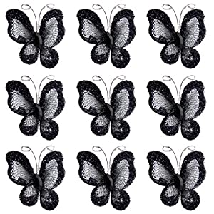 50pcs Wired Mesh Stocking Glitter Butterflies - Black