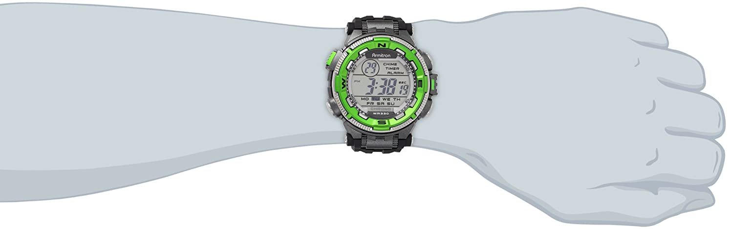 Armitron Men's 40/8301GRN Sport Green and Silver-Tone Accented Black Resin Strap Chronograph Digital Sport Watch