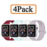 YANCH Compatible with for Apple Watch Band 42mm 44mm, Soft Silicone Sport Band Replacement Wrist Strap Compatible with for iWatch Series 4/3/2/1, Nike+,Sport,Edition,M/L,Size,4 Pack (Color: Z1-4 pack-F, Tamaño: 42mm/44mm M/L)