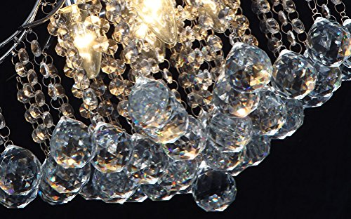Vintage Crystal Chandelier 4 lights fixture with metal long chain of Ella Fashion 4