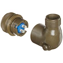 Amphenol Industrial 97-3108B-10SL-4S Circular Connector Socket, Threaded Coupling, Solder Termination, Angle Plug, Split Backshell, 10SL-4 Insert Arrangement, 10SL Shell Size, 2 Contacts