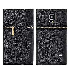 myLife (TM) Graphite Black - Zipper Design - Koskin Faux Leather (Card, Cash and ID Holder + Magnetic Detachable Closing + Hand Strap) Slim Wallet for NEW Galaxy S5 (5G) Smartphone by Samsung (External Rugged Synthetic Leather With Magnetic Clip + Internal Secure Snap In Hard Rubberized Bumper Holder)