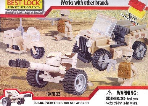 Best Lock Military Construction 120pc Set Includes Jeep, Motorcycle & Gunner #91209