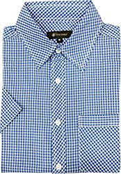 AA' Southbay Men's Blue Micro Checks 100% Cotton Half Sleeve Casual Shirt - Size M (38)