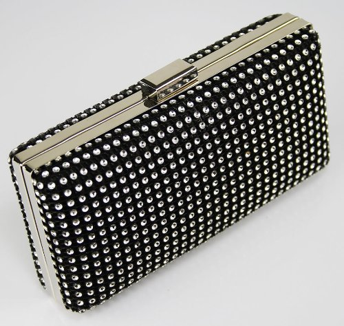 Ladies Black Sparkly Diamante Evening Party Clutch Bag KCMODE