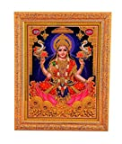 Bm Traders Golden Zari Work Photo of Laxmiji With Gloden Frame