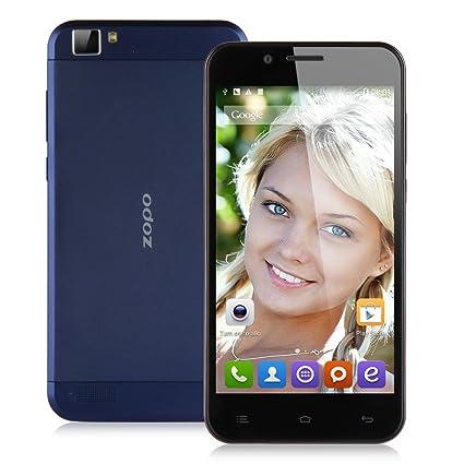ZOPO ZP1000 2G/3G Smartphone 5,0 Pouce HD IPS Grande Ecran Google Android 4.4 KitKat 1Go RAM+16Go ROM mémoire MTK6592 1,7GHz CPU 14.0 mégapixel caméra WIFI GPS Bluetooth FM OTG OTA portable-Bleu foncé -pour orange SFR Bouygues