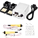 WoodBurningKit, English Panel 60W PyographyWoodBurningTool Kit Used As Wood Carving Engraver with 2 WoodBurning Stencil Pen 20pcs Pyrography Wire Tips for Wood Leather and Gourd (White) (Tamaño: White)