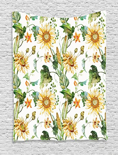 Ambesonne Sunflower Decor Collection, Sunflowers and Corn Pattern Agriculture Rural Plants Nature Cultivating Close Up Design, Bedroom Living Room Dorm Wall Hanging Tapestry, Soft Green Yellow (Corn Brothers Collection compare prices)