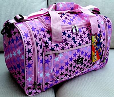 Small holdall Light Pink stars pattern Travel bag cabin luggage student kids girls gym school
