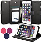 iPhone 6 Plus Case, Abacus24-7 Leather Wallet Case and Stand, Black